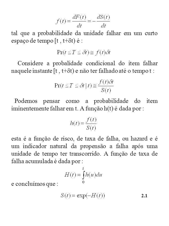 tal que a probabilidade da unidade falhar em um curto espaço de tempo [t , t+t) é :